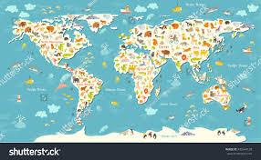 animals world map beautiful cheerful colorful stock illustration