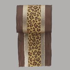 leopard ribbon safari gold striped leopard print wire edged christmas ribbon