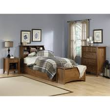 sauder shoal creek collection full queen bookcase headboard oak