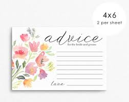 Advice Cards For Bride Wedding Advice Card For Bride And Groom Wedding Advice Cards