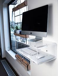 elegant and modern transparent acrylic console for imac and