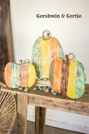 farmhouse wooden painted pumpkins set of 3 made from reclaimed