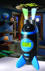 luxury boys bedroom style with blue black rocket kids alarm clocks