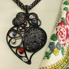 heart rhinestone necklace images 118 best portuguese folk heart of viana jewelry images on jpg