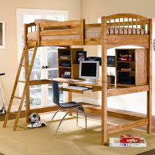 loft beds with simple natural wooden furniture and computer