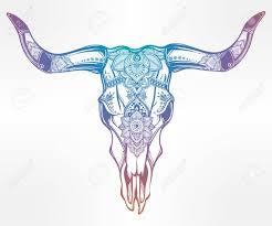 hand drawn romantic tattoo style ornate decorative desert cow