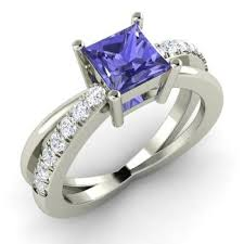 rings with tanzanite images Darelena engagement ring with princess cut tanzanite i diamond jpg