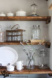 beauteous barn wooden unfinished open shelving for kitchen ware