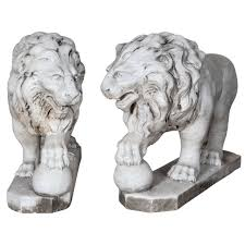 pair of italian marble lions for sale at 1stdibs