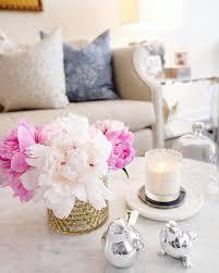 instagram pinkpeonies living room decor coffee table styling pink peonies voluspa