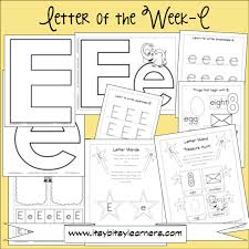 letter e preschool printables free also has links to other