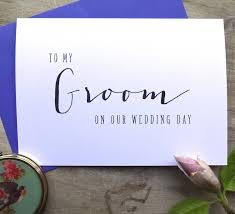 wedding day cards for groom modern text to my groom on our wedding day card by sweet pea