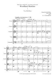 to a wild rose 3 violins viola cello sheet music by edward