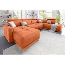 canapé d angle orange canapé d angle panoramique tissu têtières réglables suspensions