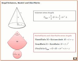 fläche kegel kegel berechnen volumen obefläche mantelfläche formel
