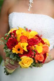 gerbera daisy bouquets wedding bouquet orange marigolds pair