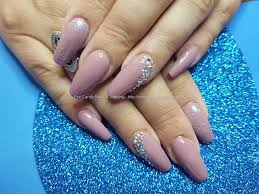 social build acrylic nails with gel polish and crystals nail