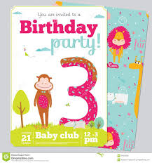 Design Invitation Card For Birthday Party Birthday Party Invitation Card Template With Cute Stock Vector