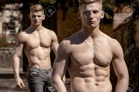 haircut for long torso young twin brothers male muscular bodybuilders macho with bare