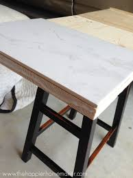 How To Make A Wood Table Top Diy Marble Top Table From A Barstool The Happier Homemaker