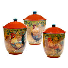 flour canister certified international rustic rooster canister 3 piece set