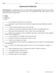 Printable Organization Quiz For Students | organizational skills quiz grade 9 free printable tests and