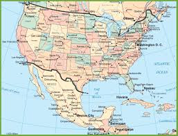 map usa y canada map usa y mexico major tourist attractions maps