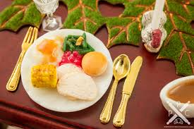 miniature thanksgiving turkey dinner plate 1 12 dollhouse