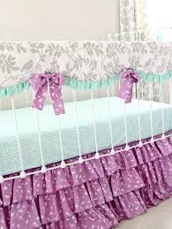 Purple Crib Bedding Set Bumperless Mint And Purple Bird Baby Bedding Set Lottie Da Baby