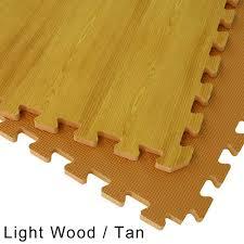 Interlocking Rubber Floor Tiles Wood Grain Reversible Interlocking Foam Floor