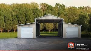 Four Car Garage Four Car Barn With Lean Tos 42 U0027 X 21 U0027 X 12 U0027 Shop Metal Barns Online