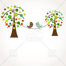 birds in on stylish trees vector clipart