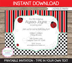 ladybug party invitations template birthday party