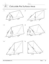 triangular prism areaworksheets