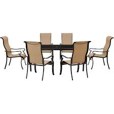 Sling Patio Dining Set - brigantine 7 piece glass top dining set with 9 ft table umbrella