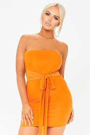 orange dress orange tie front bandeau mini dress