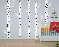 large wall vinyl tree forest decal birch woodland nursery sticker realistic birch tree wall decal boys blue room