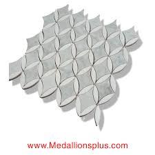 oval diamond carrara u0026 thassos white marble polished mosaic