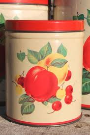 vintage metal kitchen canister sets mid century vintage metal kitchen canisters w bright fruit print