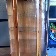 antique curio cabinet with curved glass best antique reproduction curved glass curio cabinet great