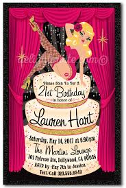 rockabilly pinup burlesque 21st birthday invitations pinup