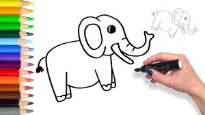 learn to draw an elephant teach drawing for kids coloring page