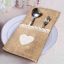 burlap wedding decorations 10pcs lot jute wedding decoration vintage rustic cutlery pocket