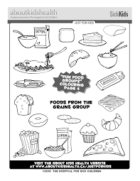 colouring page for your kids foods from the grains group food