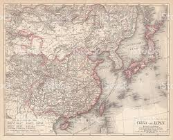 Map Of China And Japan by Map Of China And Japan Lithograph Published In 1875 Stock Vector