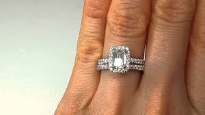Engagement Rings And Wedding Band Sets by 1 63 Emerald Cut Diamond Engagement Ring And Wedding Band Set