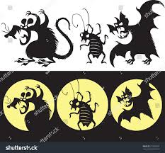 Halloween Bat Silhouette Scary Halloween Set Angry Rat Bat Stock Vector 217658233