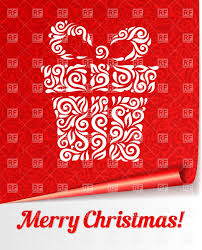 christmas red card with big ornated gift box vector image 28839