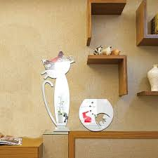 Mirror Stickers Bathroom 3d Cat And Fish Mirror Stickers Bedroom Living Room And