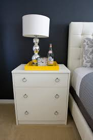 silver nightstand spaces eclectic with alarm clock ball lamp